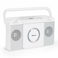 Auna Boomtown USB, boombox, CD prehrávač, FM rádio, MP3, prenosné kufríkové rádio, biely