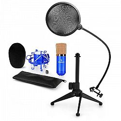 Auna CM001BG mikrofónová sada V2 - kondenzátorový mikrofón, mikrofónový stojan, pop filter, modrá farba