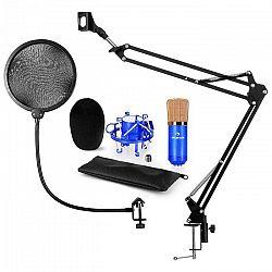 Auna CM001BG V4, modrá, mikrofónová sada, XLR kondenzátorový mikrofón, rameno, pop-filter