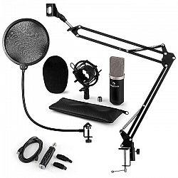 Auna CM003 mikrofónová sada V4, kondenzátorový mikrofón, USB-konvertor, mikrofónové rameno, čierna farba
