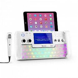 "Auna DiscoFever, biely, bluetooth karaoke systém, LED, 7"" TFT displej, CD, USB"