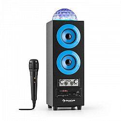 Auna DiscoStar Blue, prenosný 2.1 bluetooth reproduktor, USB, akumulátor, LED, mikrofón