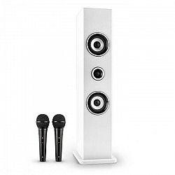 Auna Karaboom, bluetooth reproduktor USB AUX karaoke 2 x mikrofón, biela
