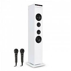 Auna Karaboom CD karaoke zariadenie, bluetooth, MP3, USB nabíjačka, mikrofón, diaľkové ovládanie, biela farba