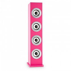 Auna Karaboom LED, ružová, bluetooth reproduktor, USB, AUX, karaoke, 2 mikrofóny