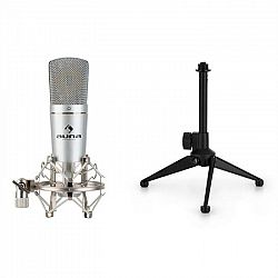 Auna MIC-920, USB mikrofónová sada V1, kondenzátorový mikrofón & stojan na mikrofón, strieborný
