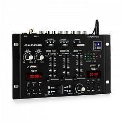 Auna Pro DJ-22BT, MKII, mixér, 3/2 kanálový-DJ-mixážny pult, BT, 2xUSB, montáž na rack, čierny