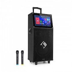 """Auna Pro KTV, karaoke systém, 15,4"""" dotykový displej, 2 UHF mikrofóny, WiFi, BT, USB, SD, HDMI, vozík"""