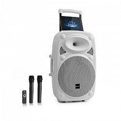 """Auna Pro Streetstar 12, mobilné PA zariadenie, 12"""" (30.5 cm), 2 x UHF mikrofón, max. 800 W, biele"""