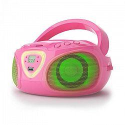 Auna Roadie, boombox, ružový, CD, USB, MP3, FM/AM rádio, bluetooth 2.1, LED farebné efekty