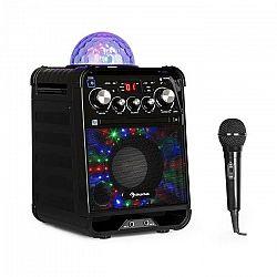 Auna Rockstar LED, karaoke systém, CD prehrávač, bluetooth, AUX, 2 x 6,3 mm, čierny
