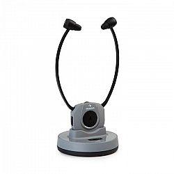 Auna Stereoskop, bezdrôtové slúchadlá so stetoskopickou konštrukciou, do uší, 20 m, 2,4 GHz, TV/HiFi/CD/MP3, akumulátor, sivé