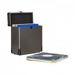Auna Vinylbox Alu, kufor na platne, uskladní až do 30 platní, sklopné veko, čierny