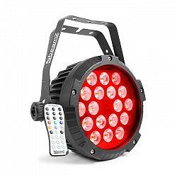 Beamz BWA418 LED PAR, reflektor, 18x12W, 4v1, LED svetlá, RGBW, IP65, čierna farba