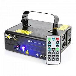 Beamz Elara, dvojitý laser, 6 DMX kanálov, 18 W RB, 12 motívov, IR diaľkový ovládač