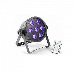 Beamz FlatPAR, 7 x 18 W, 6-v-1 hex color RGBAWUV-LED, DMX IR, vrátane diaľkového ovládania