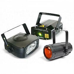 Beamz Light Package 4, set disko svetelných efektov, laser, stroboskop