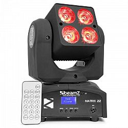 Beamz Matrix 22, 40 W, LED otočná hlava, pohyblivá hlavica, moving-head, 4 x 10 W, 9 vzorov, 7 farieb, DMX