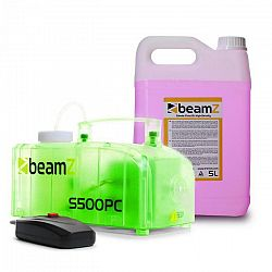 Beamz S500PC, výrobník hmly, vrátane 5 litrov hmlovej tekutiny, RGB LED diódy 500 W, transparentný