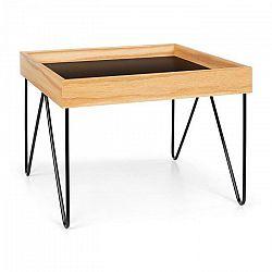 Besoa Big Lyon, konferenčný stolík, melamin/MDF s dubovou dyhou, oceľový rám, čierny