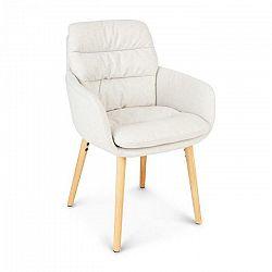 Besoa Doug, čalúnená stolička, penová výplň, 100 % polyester, drevené nohy, krémová