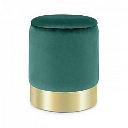 Besoa Gigi, taburetka, 38 x 31 cm (V x Ø), úložný priestor, zamat, zelená