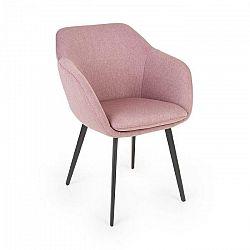 Besoa James, čalúnená stolička, penová výplň, 100 % polyester, oceľové nohy, ružová