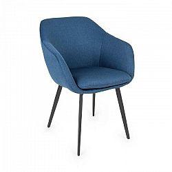 Besoa James, čalúnená stolička, penová výplň, polyester, oceľové nohy, tmavomodrá