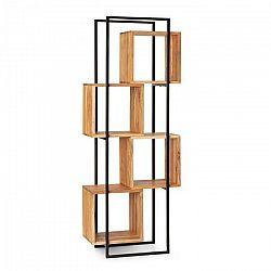 Besoa Rotterdam, regál, agátové drevo, železná kostra, 4 úrovní, 70 x 180 x 33,5 cm, drevo