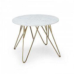 Besoa Round Pearl, konferenčný stolík, 55 x 45 cm (Ø x V), mramorový vzhľad, zlatý/biely