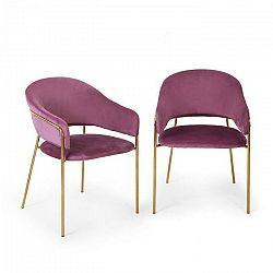 Besoa Salma, pár jedálenských stoličiek, zlatý, chrómovaný kovový rám, fialové