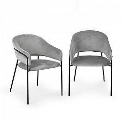Besoa Salma, pár jedálenských stoličiek, zlatý, chrómovaný kovový rám, sivé