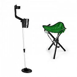 DURAMAXX Basic Green, sada na hľadanie pokladov, detektor kovov, kempovacia stolička , 16.5 cm sonda
