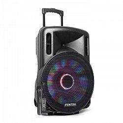 """Fenton FT15LED, aktívny reproduktor, 15"""", 800 W, BT/USB/SD/MP3/AUX-In, LED, mirkofón, vozíková konštrukcia"""