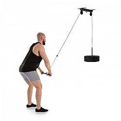 KLARFIT Hangman, kladka, stropná inštalácia, 2 m kábel, tricepsová tyč, čierna farba