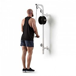 KLARFIT Stronghold , posilňovacia kladka, montáž na stenu, 100 kg, 2,5 m kábel, tricepsová tyč, biela