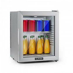 Klarstein Brooklyn 24 Silver, mini chladnička, energetická trieda A, sklenené dvere, LED, polica, strieborná