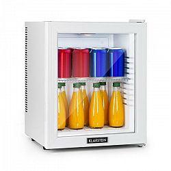 Klarstein Brooklyn 24 White, mini chladnička, energetická trieda A, sklenené dvere, LED, polica, biela