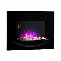 Klarstein Feuerschale, elektrický krb, 1800 W, nástenný, ilúzia plameňov, dekoračné kamene, čierny