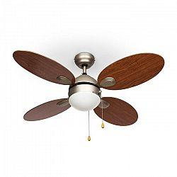 """Klarstein Valderama, stropný ventilátor, 42"""", 60 W, stropná lampa, 2 x 43 W, čerešňové drevo"""