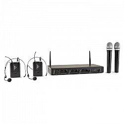 Malone Duett Quartett Fix, V2, 4-kanálový UHF bezdrôtový mikrofónový set, dosah 50 m