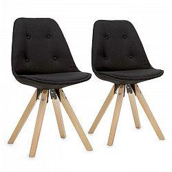 OneConcept Iseo, stolička, 2-dielna sada, polstrovaná PP-konštrukcia sedacej časti, brezové drevo, čierna farba