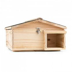 OneConcept Stachelburg, domček pre ježka, kŕmidlo, masívne drevo