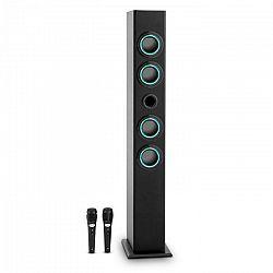 OneConcept Tallboy, čierny, karaoke reproduktor, USB, SD, MP3, FM, AUX, 2 mikrofóny