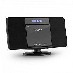 OneConcept V-13, čierny sterosystém s CD MP3 USB rádiom a budíkom, nástenná montáž